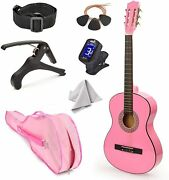 New 30 Left Handed Pink Wood Guitar With Case And Accessories For Kids/girls...