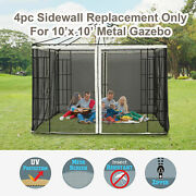 Outsunny Replacement Mosquito Netting For Gazebo 10'x10' Black Screen For Canopy