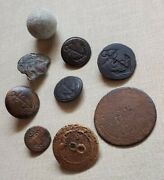 Rev War To War Of 1812 Miscellaneous Buttons And Musket Ball -- 9 Pieces