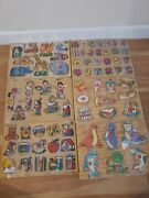6 X Vintage Kids Wooden Puzzles...forever And Small World Toys
