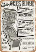 Metal Sign - 1965 Bally Aces High Pinball Machines - Vintage Look