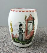 Antique Bohemian Milk Glass Tankard With Hand Painted Mourning Scene With Pontil