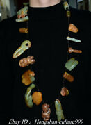 17 Natural Hetian Green Jade Carving Sun-god People Pendant Necklace Amulet