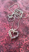 Sterling Silver With A Gold Strip Heart-shaped Necklace Fashion Jewelry