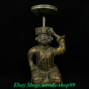 32 Antique China Bronze Ware Gilt Dynasty People Candle Holder Candlestick