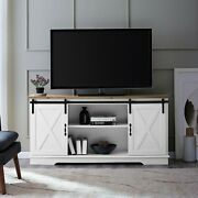Universal Paths Farmhouse Sliding Barn Door Tv Stand For Tvs Up To 65 White