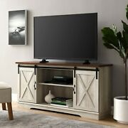 Universal Paths Farmhouse Sliding Barn Door Tv Stand For Tvs Up To 65 Brown