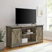 Universal Paths Farmhouse Sliding Barn Door Tv Stand For Tvs Up To 65 Grey Wash