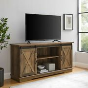 Universal Paths Farmhouse Sliding Barn Door Tv Stand For Tvs Up To 65 Barnwood