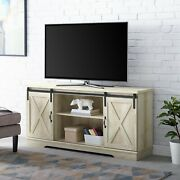 Universal Paths Farmhouse Sliding Barn Door Tv Stand For Tvs Up To 65 White Oak