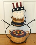 Longaberger Dresden Wrought Iron Basket Stand Uncle Sam Face Hat Baskets Liners