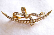Vintage Victorian Or Edwardian 9ct Crescent, Ribbon Design And 37 Pearl Brooch