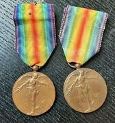 Set Of 2 Bronze Wwi Inter-allied Victory Medals Commemorative War Medal Dubois