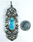 Big Vintage Towle Sterling Silver Blue Turquoise Grand Duchess Pendant 20.7g