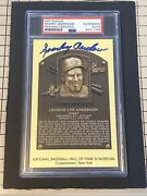 Sparky Anderson Yellow Hof Plaque Signed Auto Reds Tigers Psa/dna Authentic