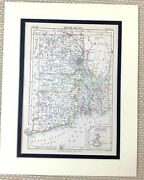 1878 Antique Map Of Rhode Island State Newport United States Of America Usa