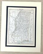 1878 Antique Map Of Mississippi State United States Of America Usa American Us
