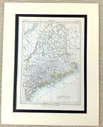 1878 Antique Map Of Maine State City United States Of America Usa American Us
