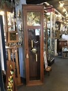 Antique Arts And Crafts Quarter Sawn Oak Working Grandfather Clock Mission Style