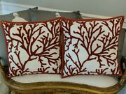 2 Pottery Barn Coral Embroidered Pillows Cover 18 Indoor Outdoor Throw Beach