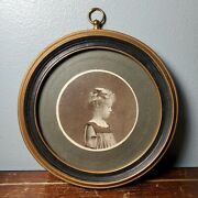 Antique Small Round Wooden Picture Frame W/ Early Photo 4 Swains Art Store Nj