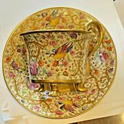 Antique Ambrosuis Lamm Dresden Hand Painted Raised Gold Cup Saucer