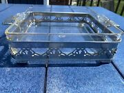 Vintage Pyrex Square Baking Dish With Silver Dish Holder Carrier