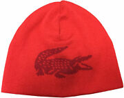 Menand039s Lacoste Red/alizarin Oversized Contrast Crocodile Reversible Wool Beanie