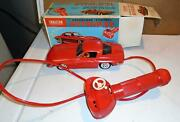 1960and039s Cragstan Battery Operated Red Corvette In Original Box Runs Lights Horn