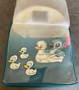 Loungefly Disney Lilo And Stitch With Duck Ducklings Backpack Blue Nwt