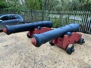 2x Large Ship Cannons 3.3 Meter Long - Decorative Gate Guard Display Film Prop