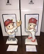 Precious Moments St Louis Cardinals Set Boy And Girl Figurines 840035 And 104038 New