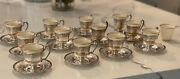 12 Lenox Demitasse 2oz Cups W/ Sterling Silver Holder And Saucers.