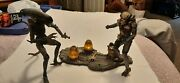 Mcfarlane Toys Alien And Predator Deluxe Set Movie Maniacs Figures And Base Loose