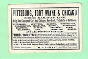 1865 Fort Wayne Pittsburgh Chicago Short Line Time Table Railroad Railway Pass