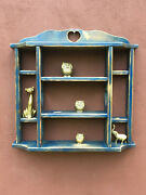 Vintage Distressed Wood Heart Cut Out Knick Knack Hanging Display Wall Shelf