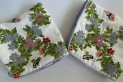 Vintage Pr Wool Emb Crewel Pillow Covers Garden Floral W Butterfly 23 X 22