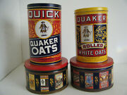 Lot Of 4 Quaker Oats Tin Cans 1983/1991 Limited Edition Promotional Advertising