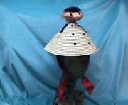 Straw Novelty Vintage Hat Coolie 50s 60s Made In Italy