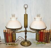 Antique Very Large Student Lamp Double White Shades Brass 1800's Electrified