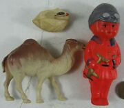 Antique 1920's-30's Celluloid Camel Kid With Airplane Rattle