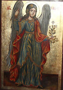 Hand Painted Tempera On Wood Icon Archangel Gabriel