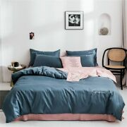 High-quality Embroidered Silky Cotton Satin Bedding 3/4 Pcs Sheet Quilt Cover