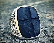 Discontinued Huge Heavy Solid Silver Engraved Ebony Wood Scott Kay Cross Ring