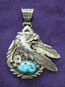 Hand Made Turquoise Pendant Eagle Feathers Marked J B Sterling