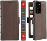 Leather Wallet Case For Samsung Galaxy Note 20 Ultra Magnetic Closure Card Slots