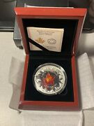 Canada 2016 Autumn Radiance Murano Glass Maple Leaf 50 5 Oz Pure Silver Proof