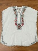 New Johnny Was M Medium Hanjin Linen White Kaftan Blouse Embroidered Floral