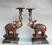 12 Copper Elephant Dragon Animal Oil Lamp Candle Stick Candlestick Holder Pair