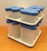 Vintage Tupperware Modular Mates Country Blue Spice Shakers And Carousel Rack
